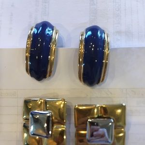 Earrings clip on. Royal/gold & gold/silver square
